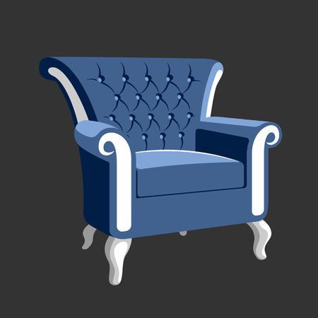 Riverside Baroque Royal armchair. Classic French furniture. Rococo armchair vector illustration isolated on gray Фото со стока - 61014729