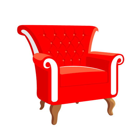 armchair: French Baroque furniture. Rococo armchair. Armchair vector illustration