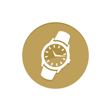 Gold Vector Icon Wristwatch. Golden web icons collection item. Icon symbo vector illustration