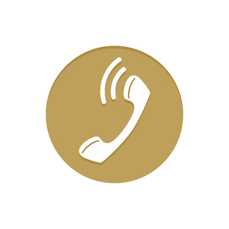 calling on phone: Gold Vector Icon Calling Phone. Golden web icons collection item. Icon symbo vector illustration