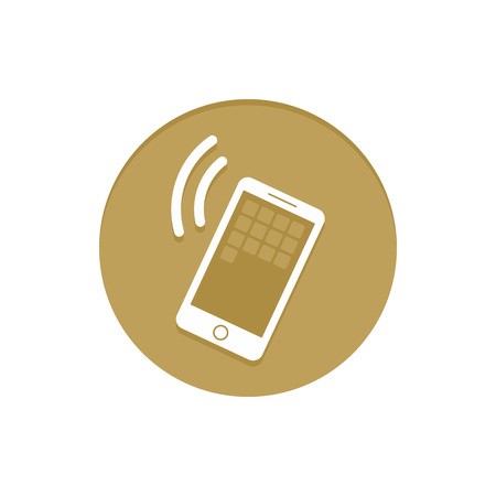item icon: Gold Vector Icon Calling Smartphone. Golden web icons collection item. Icon symbo vector illustration