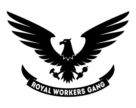 the gang: Royal Workers Gang label design with hand drawn eagle. Coat of arms. Good for posters, t-shirts, greeting cards etc. Symbol of workers freedom. Vector illustration isolated on white Illustration