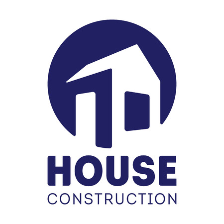 house construction: House Construction label design with hand drawn house. House Logotype. Vector illustration isolated on white