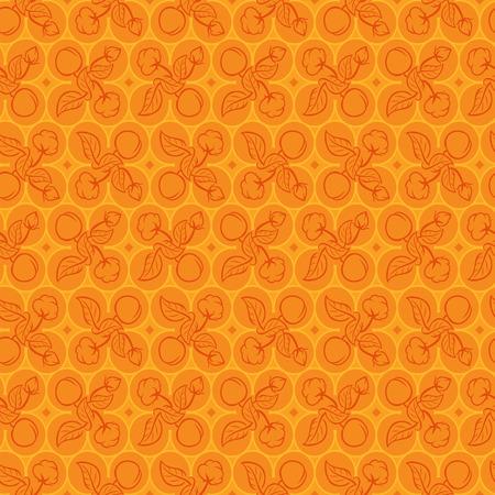 Perzik en Cotton Pattern. vector illustratie