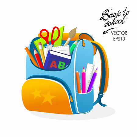 Back to School Orange Bag Vector Illustration  イラスト・ベクター素材