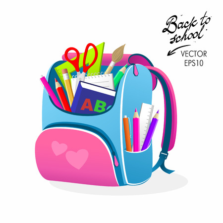 Back to School Pink Bag Vector Illustration Imagens - 62618740