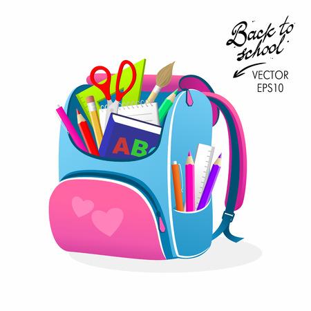 Back to School Pink Bag Vector Illustration Illustration
