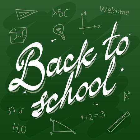 green board: Back to School Vector Calligraphy Green Board illustration