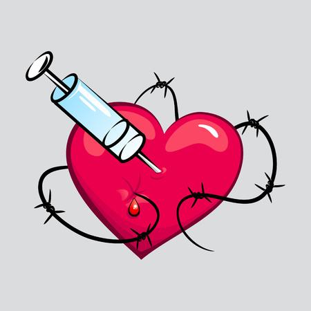 junkie: Heart of junkie tattoo vector illustration