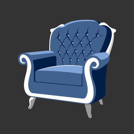 rococo: Riverside Baroque Royal armchair. Classic French furniture. Rococo armchair vector illustration isolated on gray