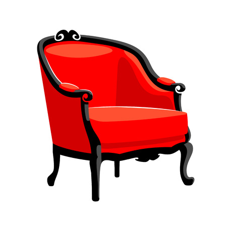 Rococo armchair. French classic Baroque furniture. Armchair vector illustration