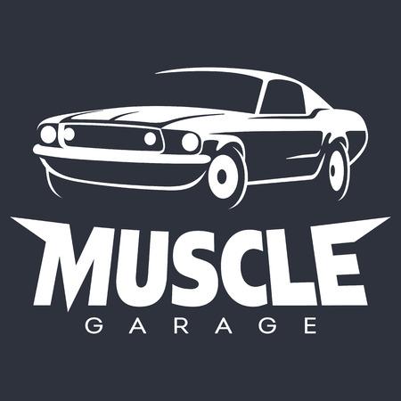 Spierwagen garage wit. Vector illustratie geïsoleerd op zwart
