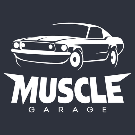 Muscle car garage white. Vector illustration isolated on black