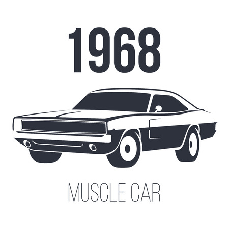 American Muscle Car 1968 black vector illustration isolated on white