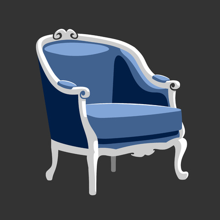 Riverside Baroque armchair. French classic Rococo furniture. Armchair vector illustration isolated on gray