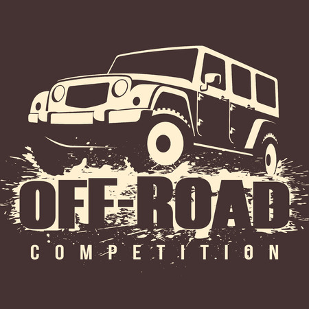 Off-road Competition emblem vector illustration. 4x4 car in mud