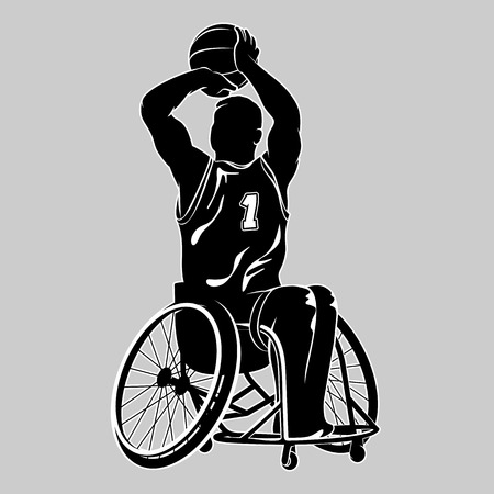 障害者のバスケット ボール選手。スポーツ車椅子。白で隔離のベクトル図 写真素材 - 62618921