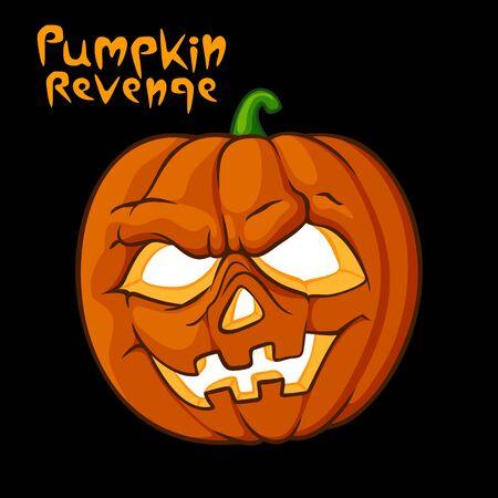 venganza: Ilustración de Halloween de miedo de calabaza del vector. caligrafía venganza calabaza