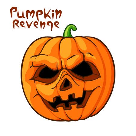 venganza: Halloween scary pumpkin vector illustration. Pumpkin revenge calligraphy