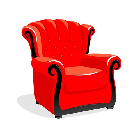 Red leather armchair. Classic armchair vector illustration