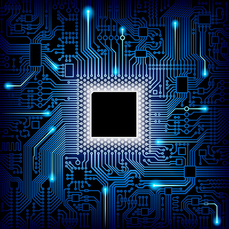 Computer processor and motherboard system chip. CPU chip electronic circuit board with processor vector illustration