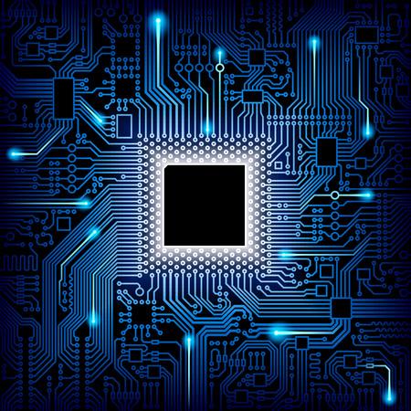 processeur de l'ordinateur et la puce du système de la carte mère. puce CPU carte électronique avec processeur illustration vectorielle Vecteurs
