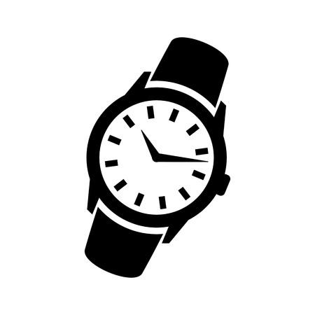 Men's hand classic wrist watch icon. Isolated wristwatch black illustration. Watch logo concept. Wrist watch silhouette symbol