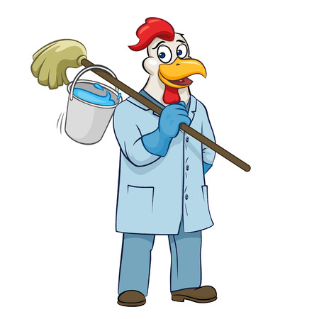 Rooser cleaner with mop and bucket vector illustration Illustration
