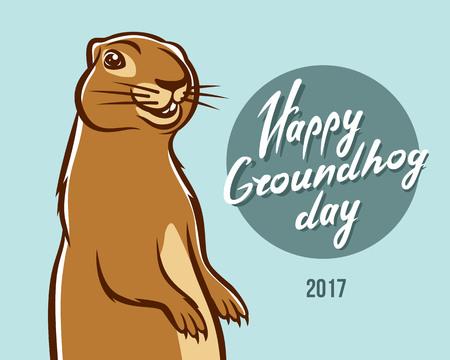 Happy Groundhog Day illustration lettering