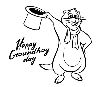 prediction: Happy Groundhog Day illustration lettering