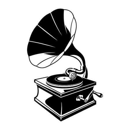 Gramophone negative space sketch illustration Illustration