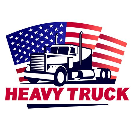 Heavy Truck with American Flag Emblem  イラスト・ベクター素材
