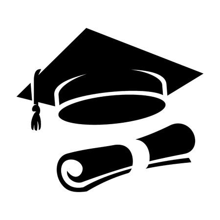 master degree: Graduation cap and diploma web icon. Black student hat vector illustration