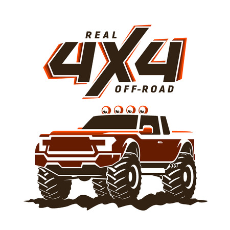 Off-road monster truck pickup illustration