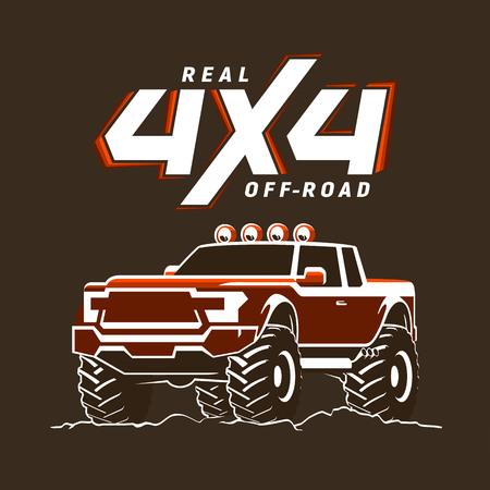 Off-road monster truck pickup illustration Vector Illustration