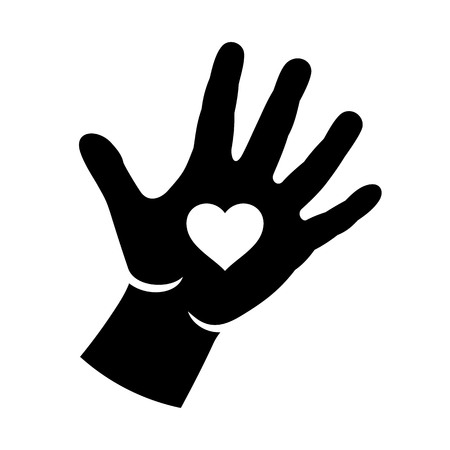 helpful: Hand with heart logo illustration