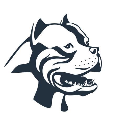 Pitbull Hund Skizze auf weiß Standard-Bild - 77883879