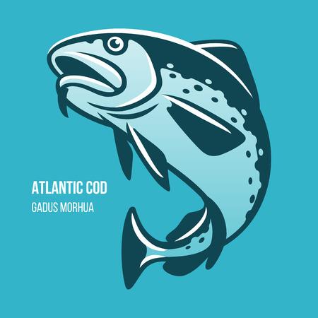 Bacalao del Atlántico ilustración vectorial de peces Foto de archivo - 82828047