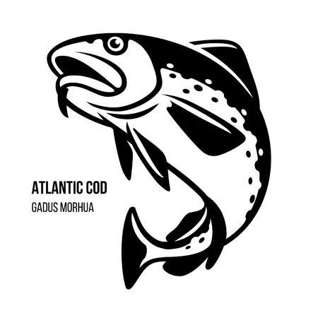 Ilustracja wektorowa dorsza ryb morskich dorsza