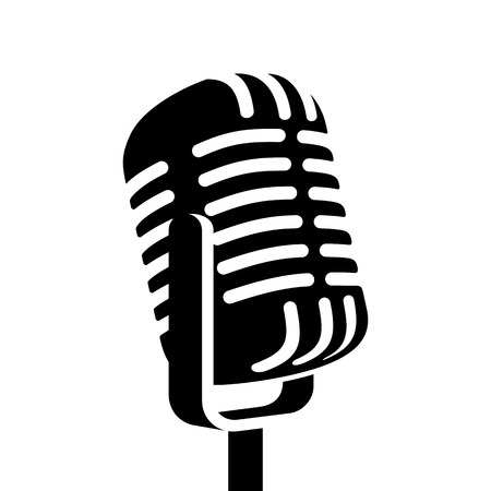 Vintage microphone sign vector illustration