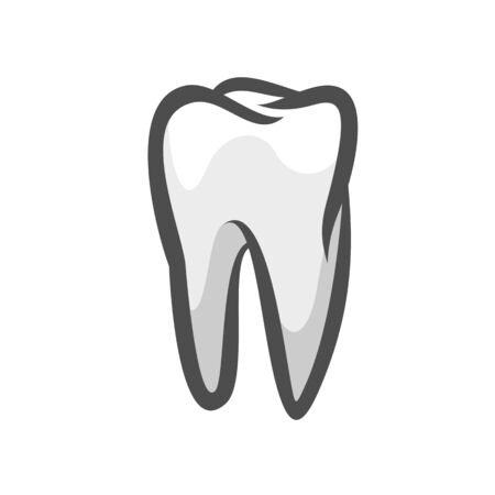 Tooth logo icon black outline vector illustration