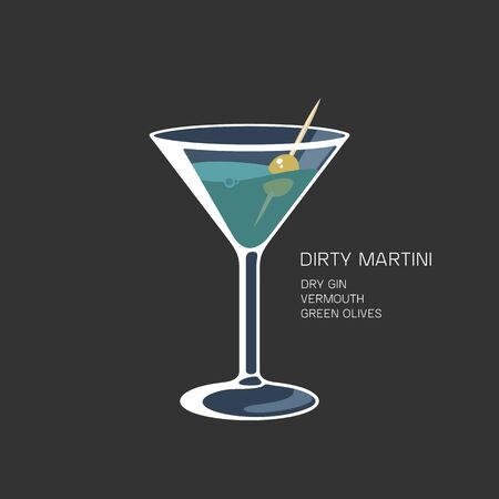 Cocktail glass Martini vermouth gin oilve vector illustration Illustration