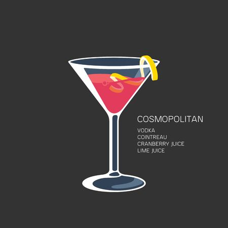 Cosmopolitan red cocktail martini glass lime vector illustration 向量圖像