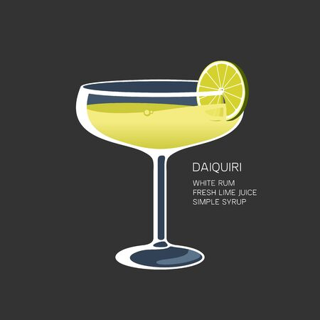 Daiquiri cocktail drink instruction green lime vector illustration