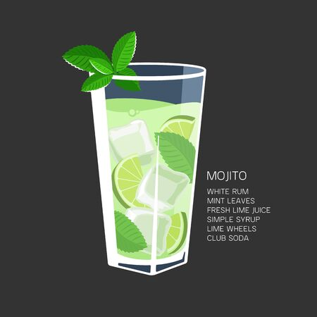 Mojito cocktail recipe ice mint lime vector illustration