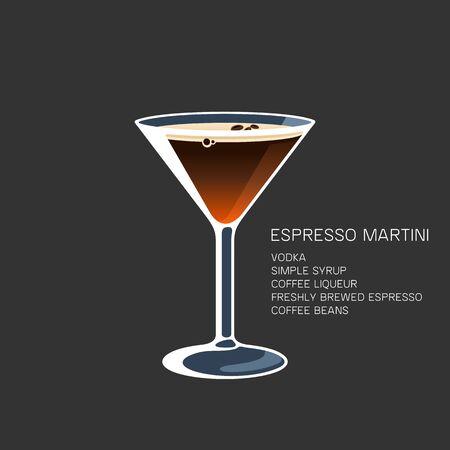 Espresso Martini alcohol coffee beans cocktail vector illustration Иллюстрация