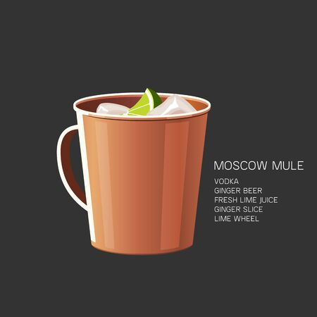 Moscow Mule alcoholic cocktail vodka beer vector illustration