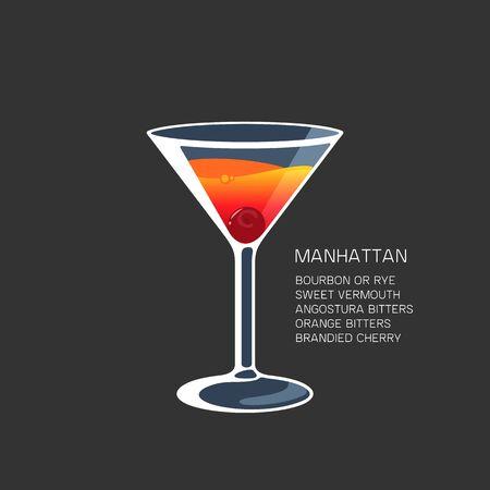 Manhattan cocktail alcohol drink Martini glass vector illustration
