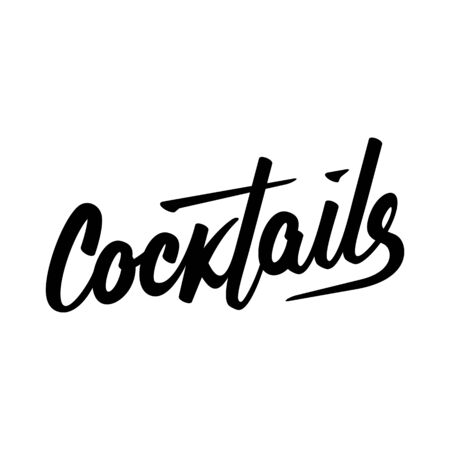 Typography calligraphy wedding sign text vector cocktails illustration  イラスト・ベクター素材