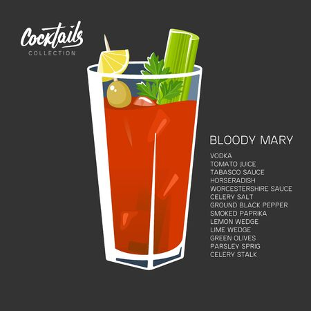 Bloody Mary Cocktail black red tomato vector illustration